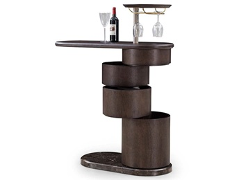复古小酒吧椭圆形实木酒