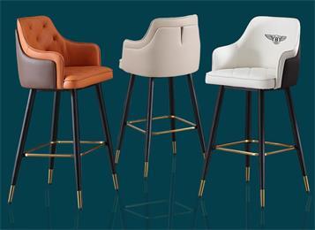 北欧吧台椅轻奢现代简约高脚椅子美式实木高脚