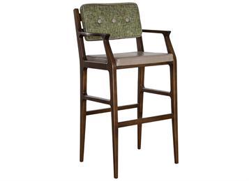 中式实木咖啡馆休闲高脚椅