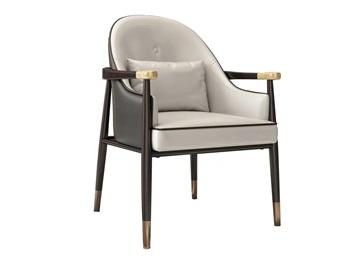咖啡厅轻奢实木皮革软包靠背椅