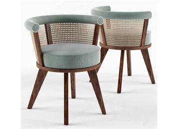 特色咖啡馆实木布艺软包藤编靠背椅