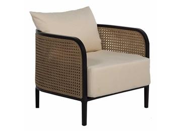 咖啡厅中式布艺软包实木藤条咖啡椅