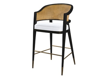 咖啡厅休闲实木藤编吧台高脚椅