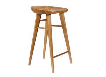 实木咖啡厅吧台凳 复古纯实木星巴克高脚椅