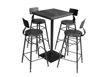 钱柜娱乐网站_复古工业风咖啡厅带背高脚吧桌椅组合