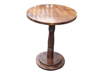 实木小圆桌罗马柱圆餐桌