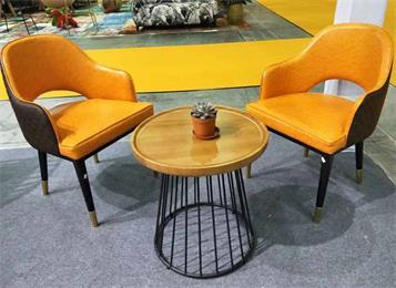 北欧铁艺实木圆咖啡桌洽
