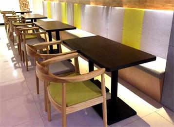 面馆餐馆咖啡馆简约铁艺实木餐厅桌椅组合