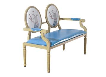 美式复古铁艺仿实木双人卡座沙发椅组合