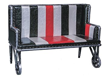 美式loft复古铁艺水管小轮椅卡座沙发