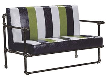美式loft铁艺休闲实木双人沙发卡座
