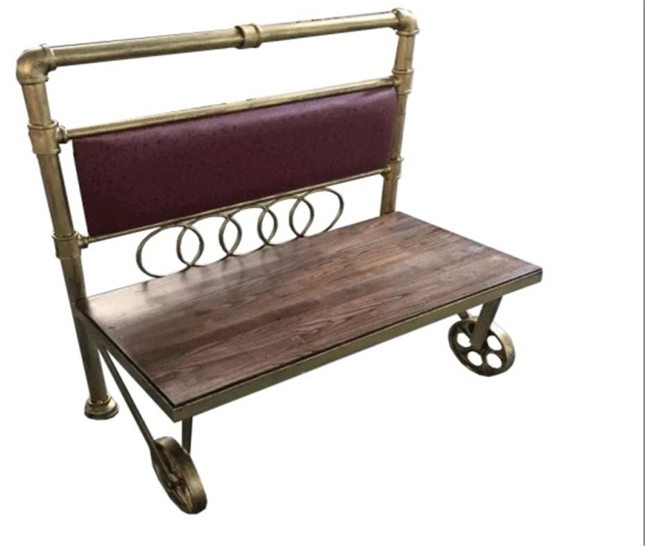 美式loft铁艺水管休闲实木沙发卡座