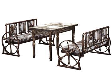 欧式复古工业风铁艺卡座餐桌组合_主题餐厅_西餐桌椅