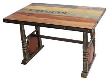 实木餐桌面铁艺复古西餐