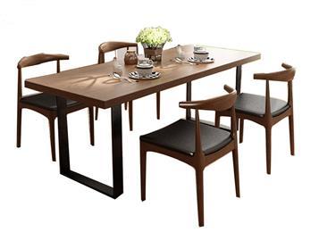 复古实木餐桌铁艺饭店桌