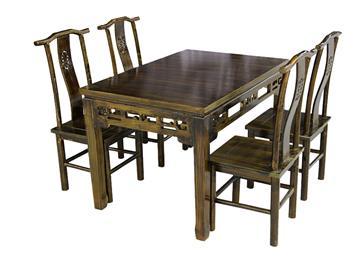 仿古实木餐厅餐桌椅组合
