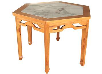 实木围边大理石桌面菱形