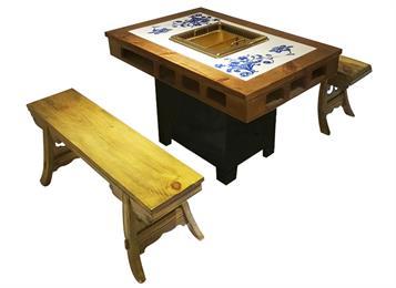钱柜娱乐网站_仿古实木雕花新中式无烟净化火锅桌椅
