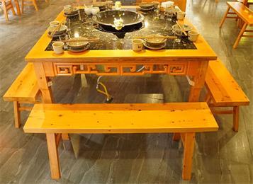 实木八仙桌大理石火锅桌