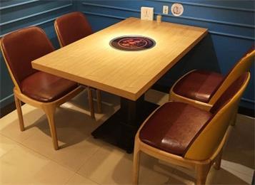 实木火锅桌自助烧烤鸡公煲烤鱼店电磁炉一体餐