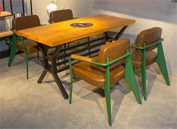 美式复古串串香烤肉店实木电磁炉火锅桌