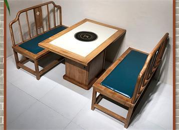实木边框镶嵌大理石电磁炉火锅桌_实木柜式中式