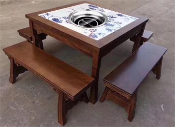 老火锅中式仿古实木镶嵌大理石八仙桌