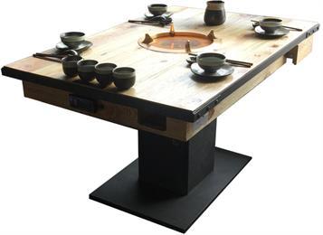 火锅店中式风格实木燃气灶火锅桌
