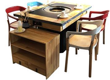 中式火锅店实木电磁炉火锅烤涮一体桌