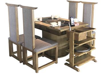 火锅店新中式实木下沉式电磁炉火锅桌椅