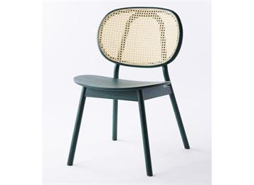 日式极简实木藤编靠背椅