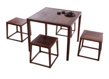 老榆木四方桌 一桌四凳