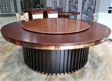 酒店餐桌实木大圆桌_饭店包厢桌椅豪华电动餐桌