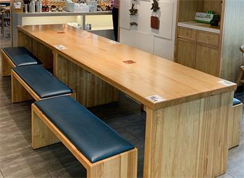 公司企业员工餐厅食堂实木长条桌椅板凳