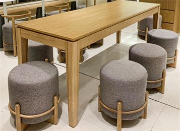企业食堂家具6人位实木长