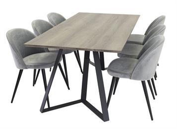 后现代极简食堂桌椅烟熏实木