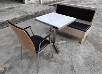 员工食堂快餐店高端不锈钢大理石桌椅