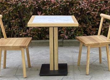 两人位食堂实木餐桌椅