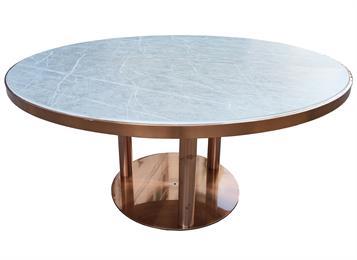企业食堂镀金不锈钢轻奢食堂圆餐桌