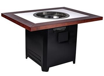 自助餐烤涮一体实木桌子_大理石无烟净化烤肉桌