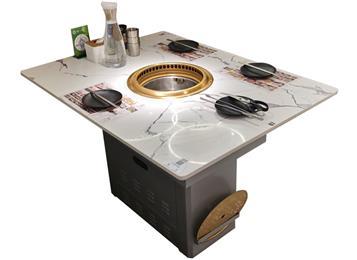烤肉店无烟净化桌_下排烟带净化器烤肉桌子