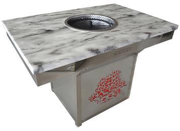 韩式自助火锅烧烤一体桌_不锈钢纸上烧烤桌子