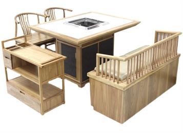 中式实木包边大理石无烟净化火锅桌