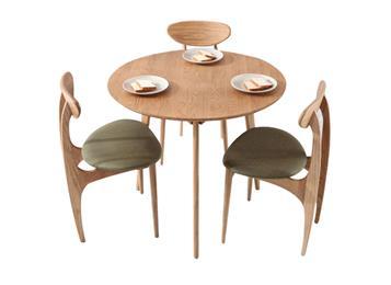 北欧现代时尚实木圆形餐桌