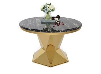 欧式简约现代圆形不锈钢餐桌 大理石餐桌