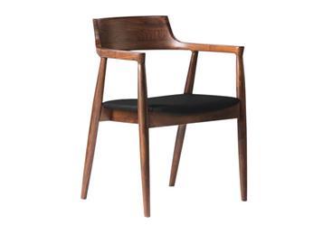 现代简约实木餐椅 北欧黑胡桃木扶手餐椅