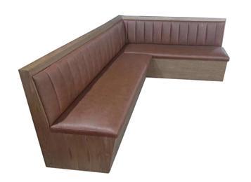 复古西餐厅实木卡座沙发
