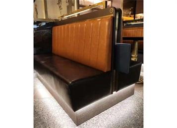 定制西餐厅复古真皮双面卡座沙发
