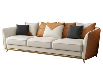 西餐厅美式简约现代不锈钢皮革沙发