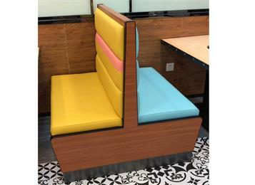 西餐厅实木框架双面坐人软包卡座